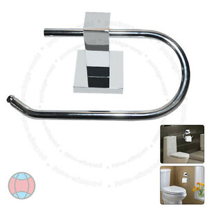 New-Wall-Mounted-Square-Polished-Chrome-Finish-Bathroom-Toilet-Roll-Holder