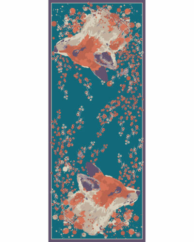 Ladies Teal Luxury Satin Fox Print Scarf Headscarf Necktie Powder Design