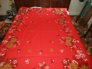 Vintage-Red-amp-Gold-Christmas-Tablecloth-Bells-Ornaments-50-034-x-67-034