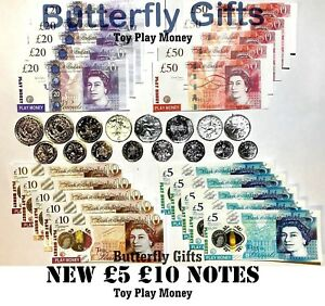 Children-039-s-Kids-Play-Fake-Pretend-Toy-Money-Role-Shops-Cash-New-5-amp-10-Note