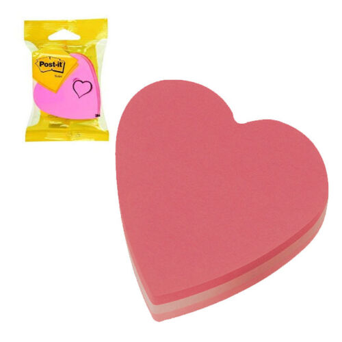 2007H 3M POST-IT NOTES HEART SHAPE 70x70mm PINK COLOURS PACK OF 12
