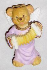 "Purple 3"" Teddy Babies Bear Angel w Acordian Figurine"