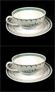Arabia-Finland-Green-Thistle-Pottery-Vtg-Retired-2-Cup-amp-Saucer-Sets-1960-039-s-Exc