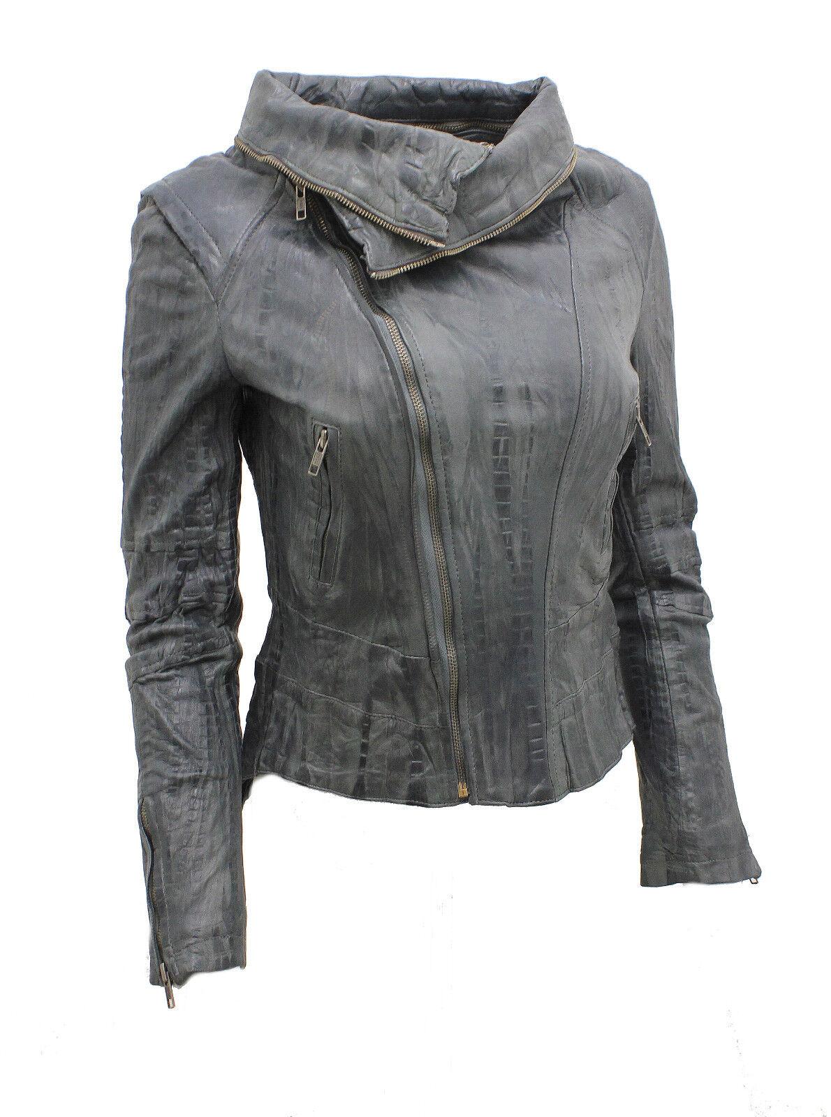 Damen Kurz Retro Grau Abnehmbar Reißverschluss Leder Bikerjacke