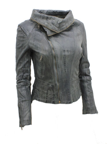 Ladies Short Retro Grey Removable Zip Neck Leather Biker Jacket