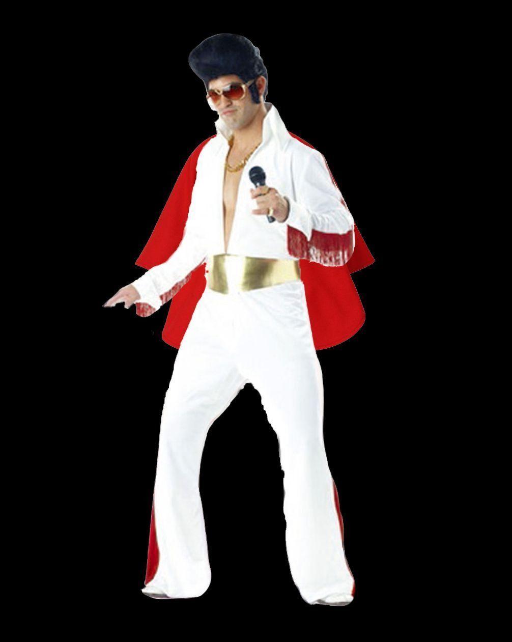Adult Mens Presley 1950s King Of Rock N Roll White Jumpsuit Costume Fancy  Dress 9201d2cc15c8