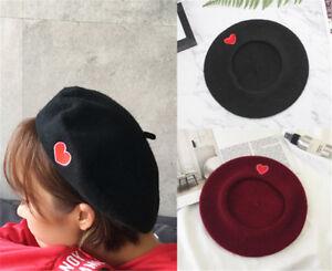 Women-Black-Cute-Heart-Embroidery-Beret-Artist-Cap-Wool-Hat-Headwear-Ber-YJ