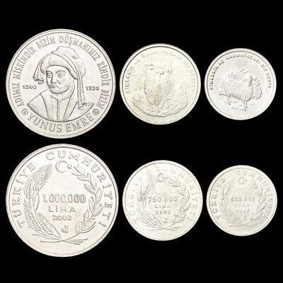 Turkey 2002 Uncirculated Coins,1,000,000-750,000-500,000 Lira 3 Three