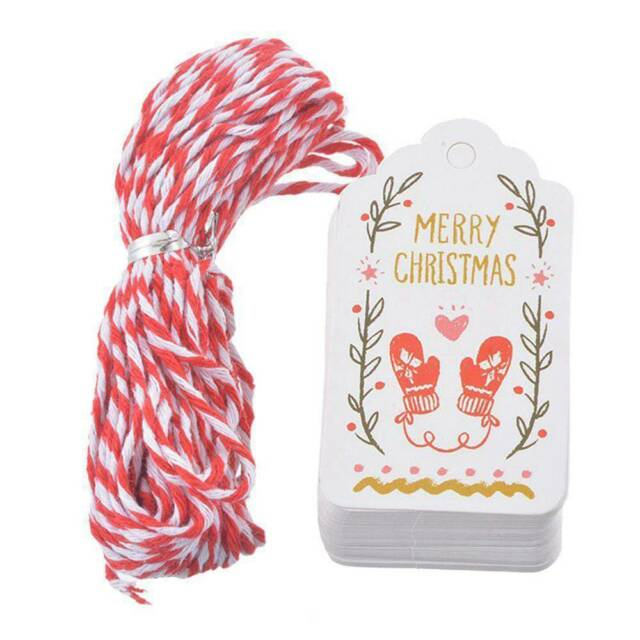 50Pcs Merry Christmas Paper Tags With String DIY Craft Xmas Hanging Ornaments