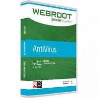 Webroot Secureanywhere Antivirus 2017 (3 Device–1 Year–pc Mac) Key Card