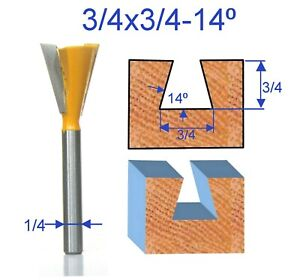 "1 pc 1/4"" SH 3/4 Diameter 14° Dovetail Router Bit (43705PC) For Omni Jig"