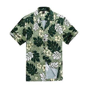 Men-Tropical-Hawaiian-Aloha-Shirt-Cruise-Luau-Beach-Party-Green-Leaf-Floral