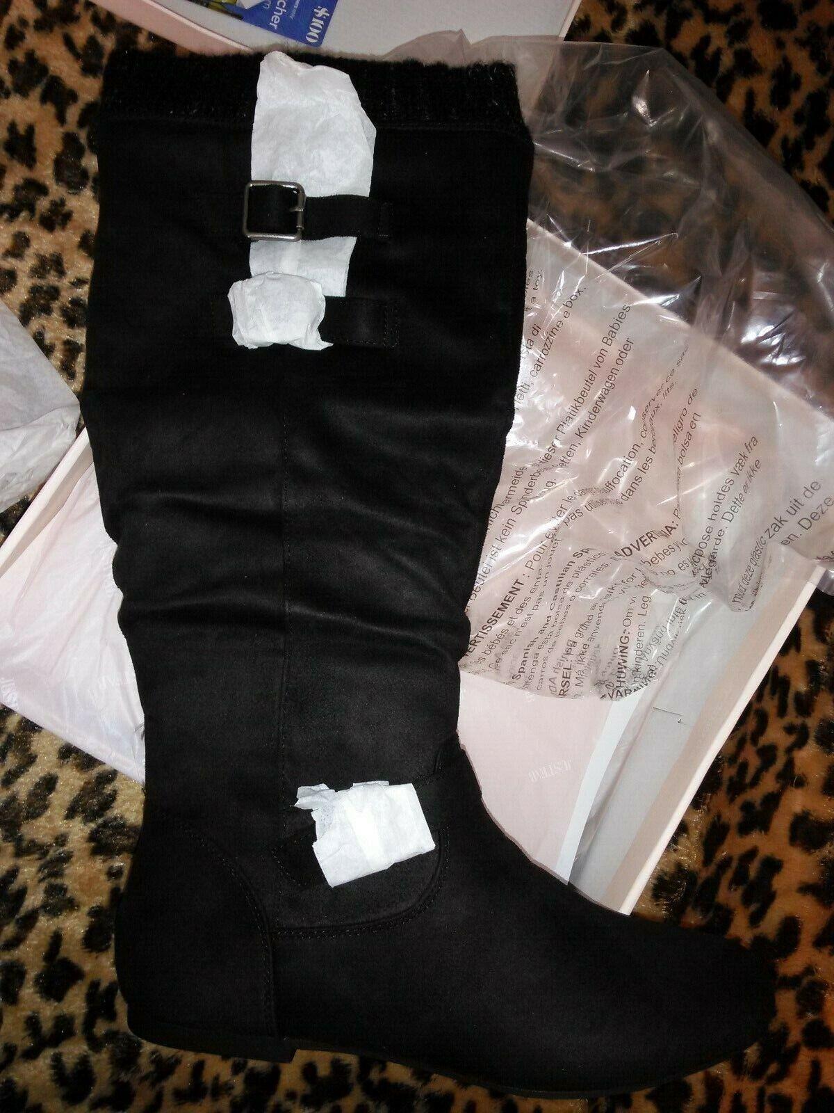 Just Fab femmes bottes hautes noires en daim synthétique plat Sz8