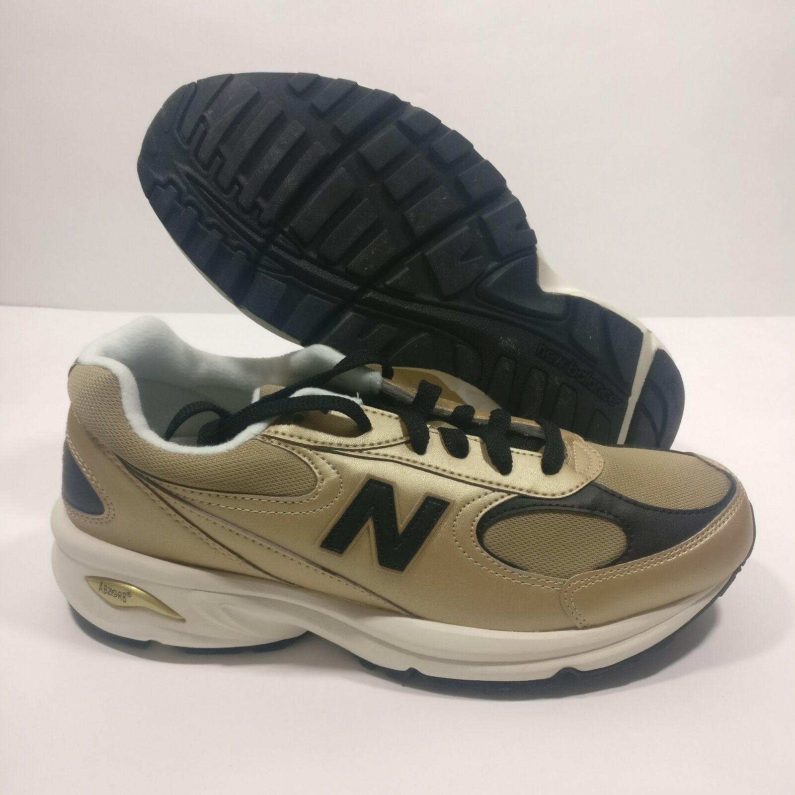 Mens New Balance ML498 GB Gold Leather Running Athletic Shoe Size 8.5 & 9.5