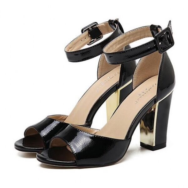 Sandalo donna tacco tacco eleganti sabot tacco donna quadrato 9 cm nero comodi   240c12