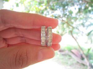 1.56 Carat Total Wt Princess Cut Diamond White Gold Creole Earrings 14K E249 sep