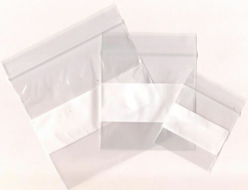 33/33/34 Clear Mixed White Label Tag Plastic Transparent ZipLock Storage Bags