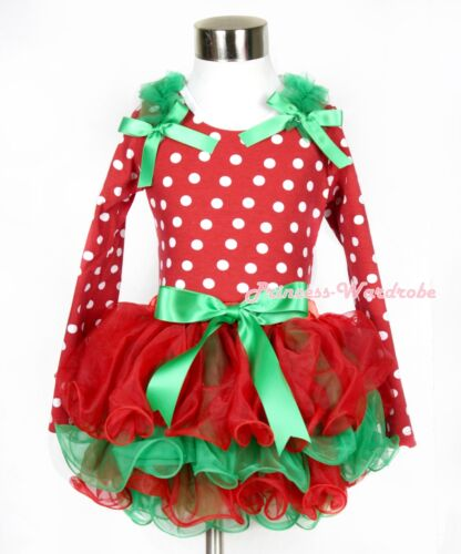 XMAS Red White Dot Green Ruffle Bow Top Red Kelly Green Girl Petal Skirt NB-8Y