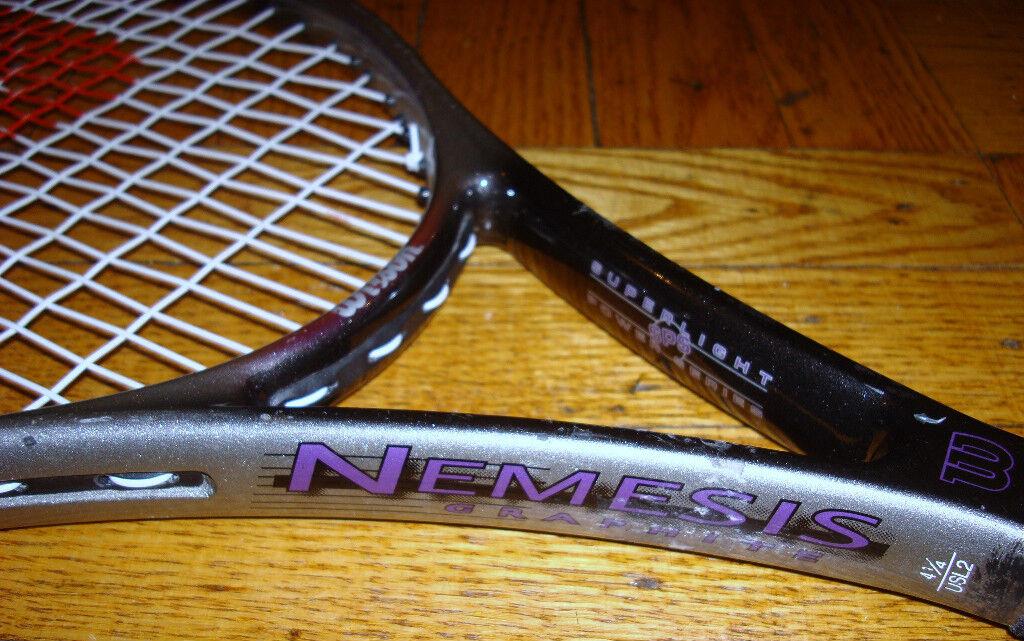 Wilson Nemesis Graphite SPS Raquette de tennis 4 1 4 Grip Taille moyenne avec cordes raquette