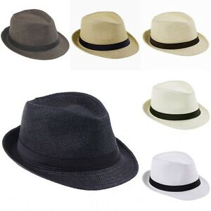 750f393f Image is loading Retro-Unisex-Fedora-Trilby-Gangster-Cap-Summer-Beach-