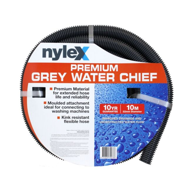Nylex WATER CHIEF HOSE Moulded Attachment,Kink Resistant, PREMIUM GREY*AUS Brand
