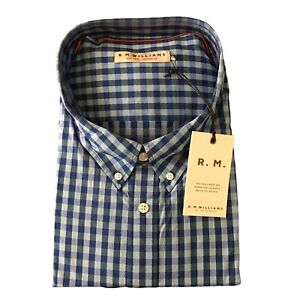 New RM WILLIAMS Men's Size 3XB Collins Long Sleeve Shirt Blue Aqua Check RRP$139