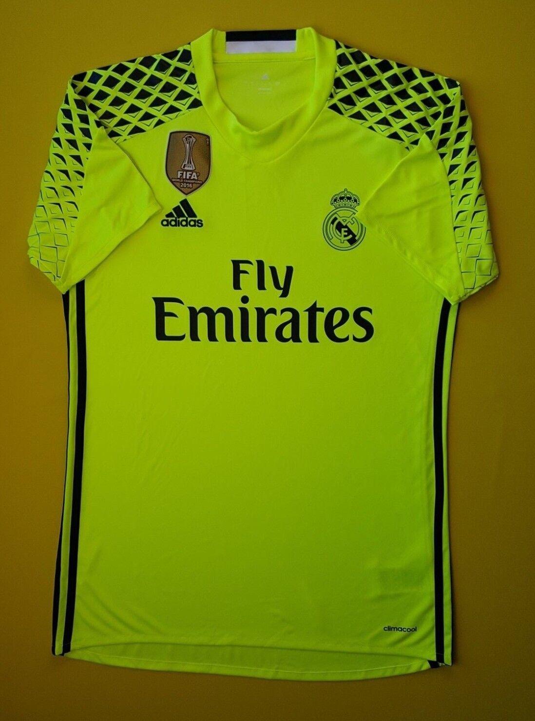 5+ 5 Real Madrid jersey SMALL 2016 2017 goalkeeper shirt B41453 soccer Adidas