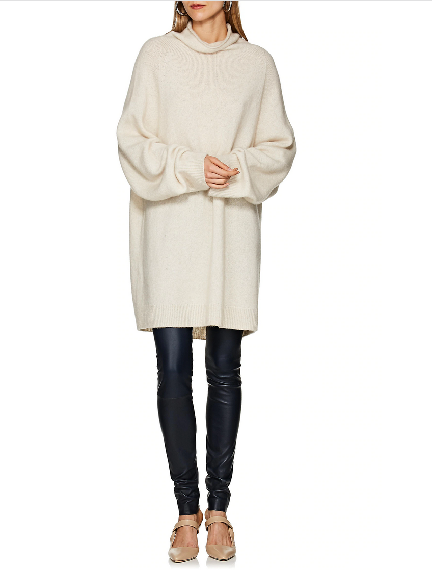 NWT  1120 The Row Mandel Cashmere Blend Turtleneck Sweater in Natural sz S