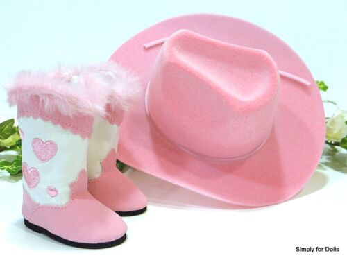 "2pc PINK /& WHITE Hearts COWBOY HAT /& BOOTS fits 18/"" AMERICAN GIRL Doll Clothes"