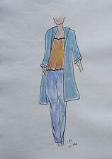 ORIGINAL MODEZEICHNUNG Modeskizze Damen fashion sketches 20-798