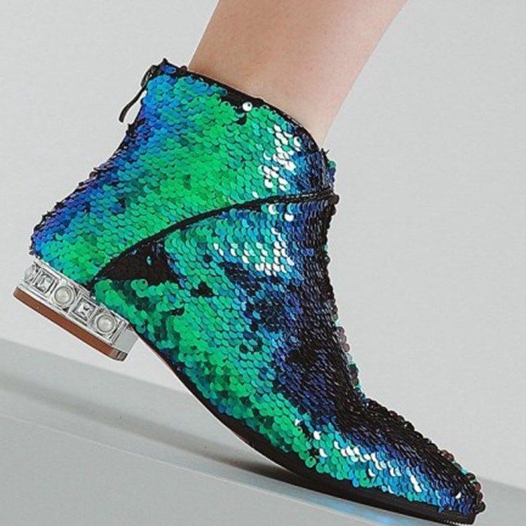 Brillo Para Mujer Tacones De De De Bloque En Punta De Brillante de Cuero botas al tobillo con cremallera lentejuelas  tienda en linea