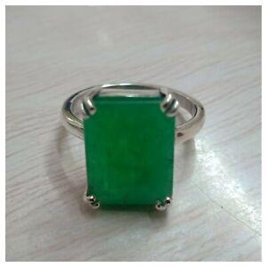 925-Sterling-Silver-Handmade-Natural-Certified-8-00-Carat-Emerald-Gemstone-Ring