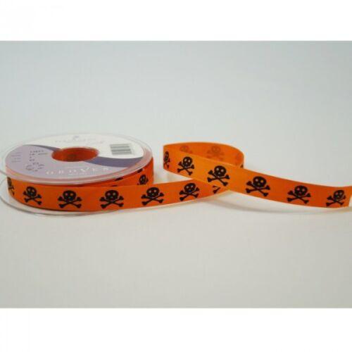 Berisfords 15mm Skulls /& Crossbones Halloween Ribbon