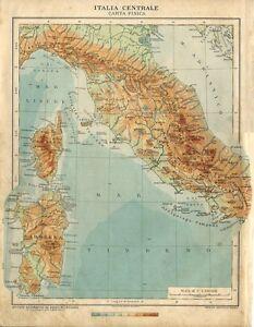 Cartina Geografica Fisica Puglia.Carta Geografica Antica Italia Centrale Sardegna Corsica Fisica 1926 Antique Map Ebay