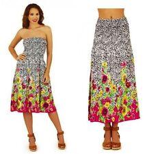 Black White Pink Floral Print Cotton Summer Beach Dress Midi Maxi Skirt Size 18