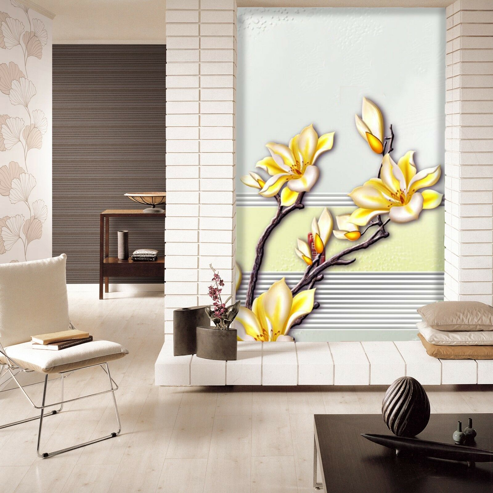 3D Golden Flower 874 Wallpaper Mural Wall Print Wall Wallpaper Murals US Carly
