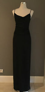 Vintage-MATTHEW-EAGER-Ladies-Black-Evening-Gown-with-cowl-neck-Size-12-Stunning