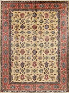 New-Geometric-Kazak-Hand-Knotted-IVORY-Oriental-Area-Rug-Wool-Carpet-9-039-x12-039