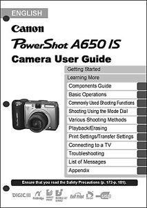 canon powershot a650 is digital camera user guide instruction manual rh ebay com canon camera user guide canon camera user manuals free