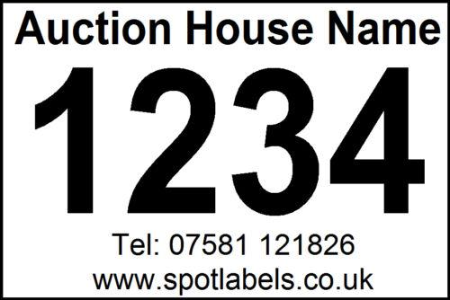 12 Rolls of 500 Personalised Auctioneers Lot Number Easy Peel Labels, No Residue