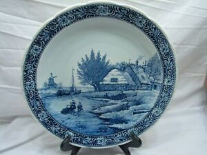 Delfts Royal Sphinx Art Pottery Charger Cottage Windmill Dutch Ice Skating Scene