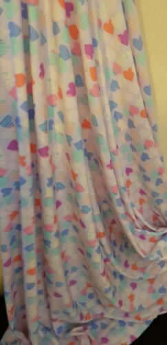 "1M jersy love heart  print multi coloured  dress fabric 58/"""