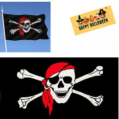 Flag Banner 150cm x 90cm Red Eyed Pirate 5ft x 3ft Biker Pirate Flag