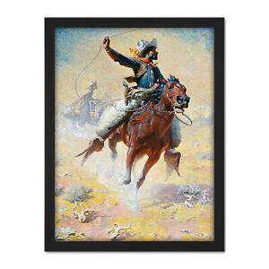 Leigh-The-Roping-Cowboy-Lasso-Horse-Painting-Large-Framed-Art-Print
