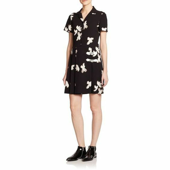 NEW Marc by Marc Jacobs schwarz Printed Crepe Dress With Buckles  - Größe M