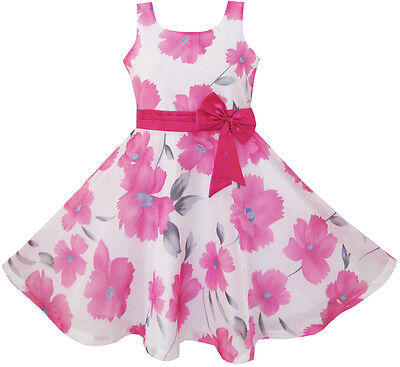 Sunny Fashion Girls Dress Pink Floral Party Wedding Boutique Size 4-12