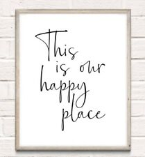 Our Happy Place Typography Print Poster Family Love Unframed Home Quote Gift