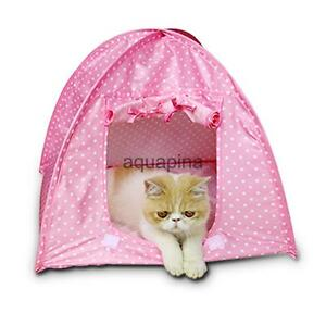 Portable Outdoor Camping Cat House Pet Sun Shelter House Tent Shade Pink