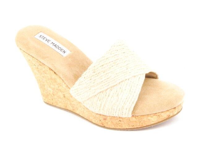 New STEVE MADDEN Women Fabric Wedge Cork High Heel Slide Flip Flop shoes Sz 10 M