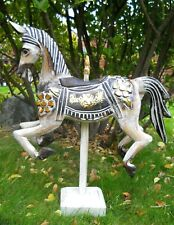 Colourful Carved Wooden ROCKING HORSE 55 cm Brown Shabby Colours Home Decoration